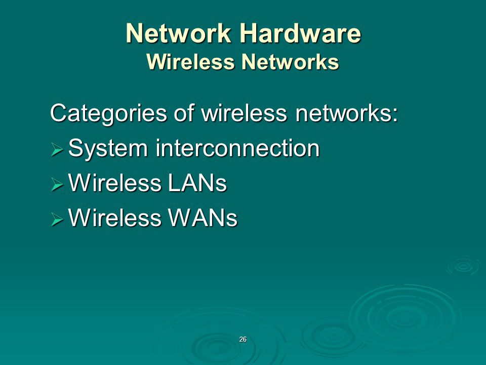 Network Hardware Wireless Networks