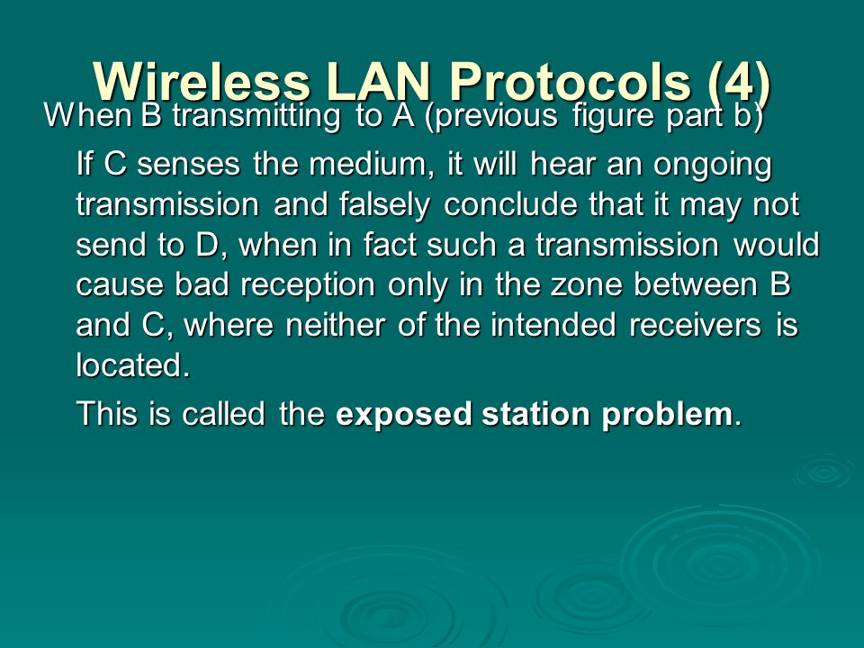 Wireless LAN Protocols (4)