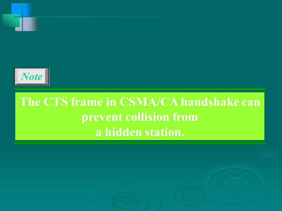 Note The CTS frame in CSMA/CA handshake can prevent collision from a hidden station.