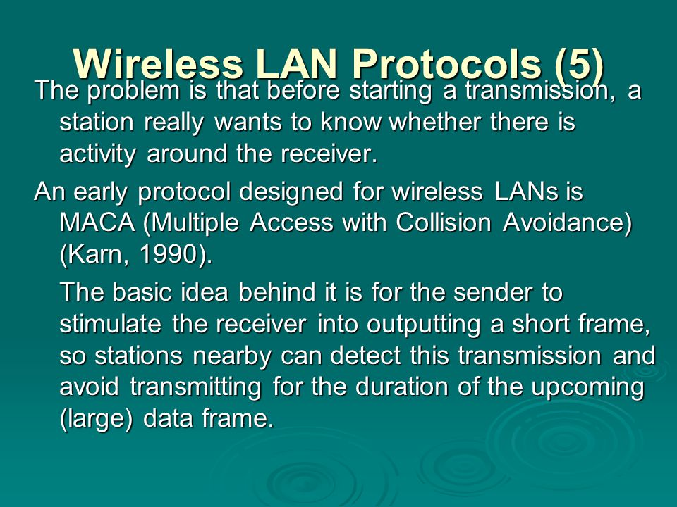 Wireless LAN Protocols (5)