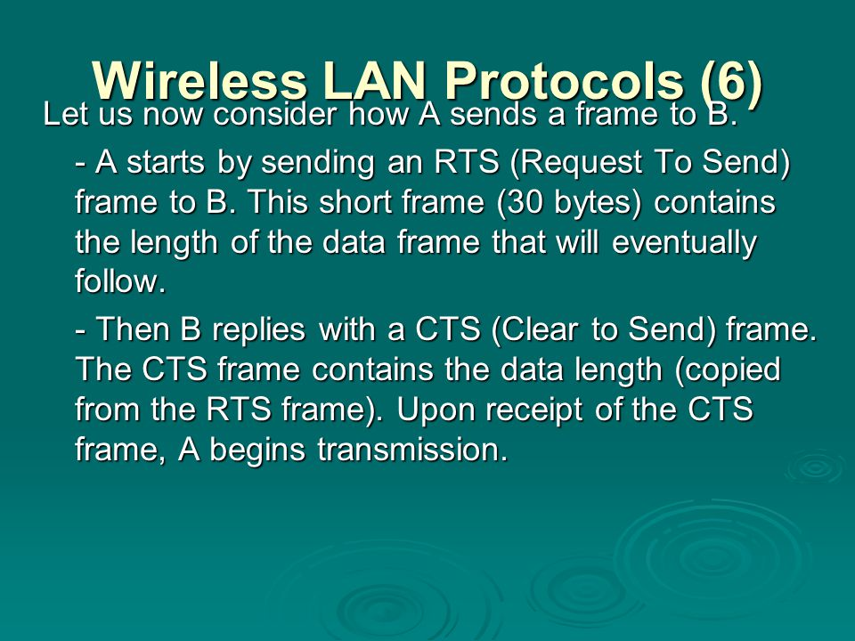 Wireless LAN Protocols (6)
