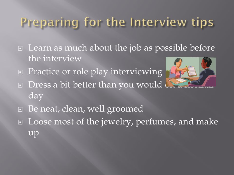 Preparing for the Interview tips