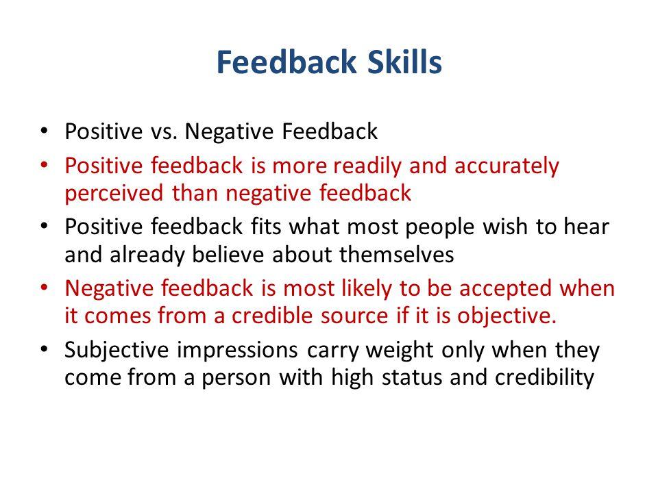 Feedback Skills Positive vs. Negative Feedback