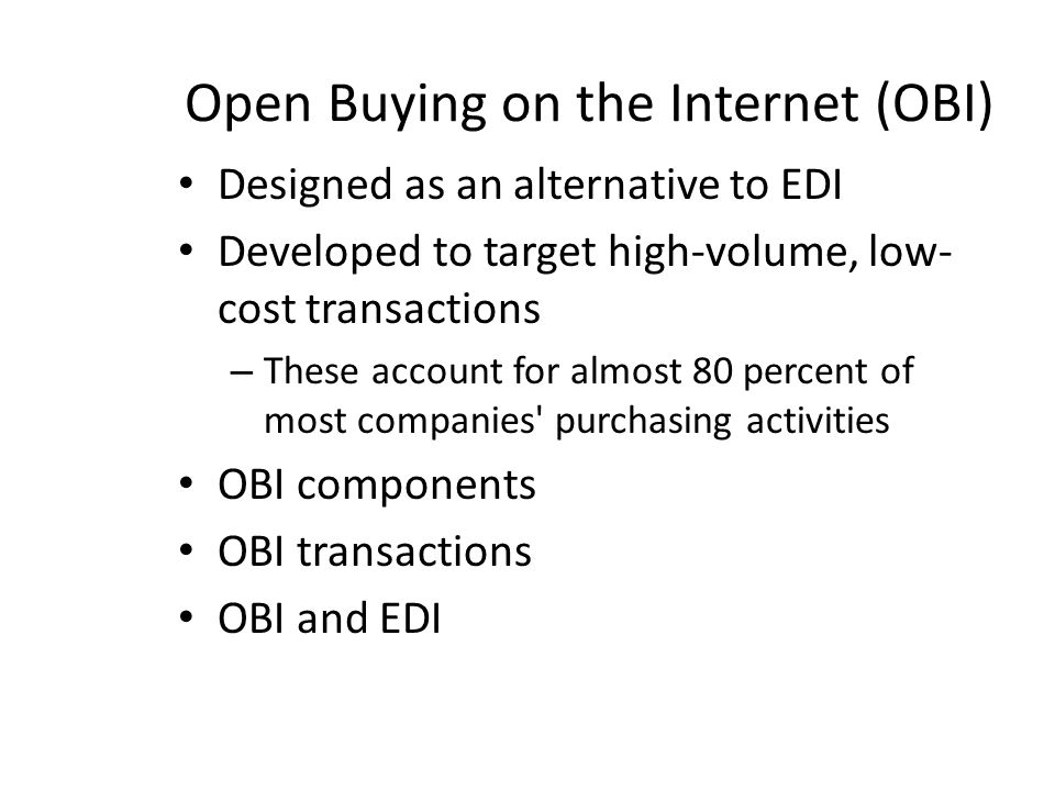Open Buying on the Internet (OBI)