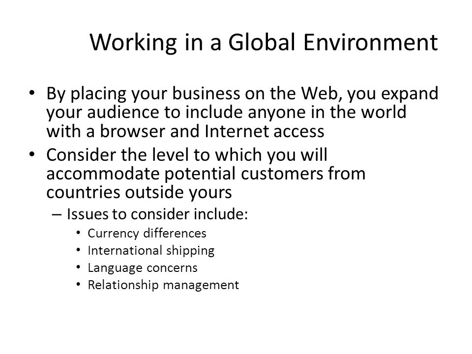 Working in a Global Environment