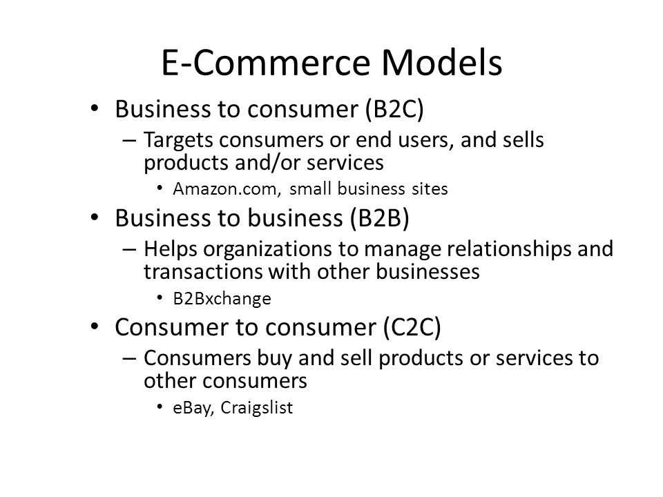 E-Commerce Models Business to consumer (B2C)