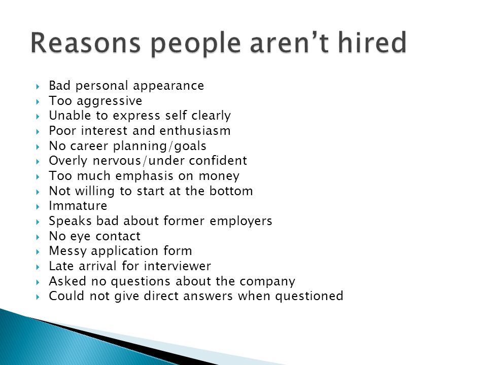 Reasons people aren't hired