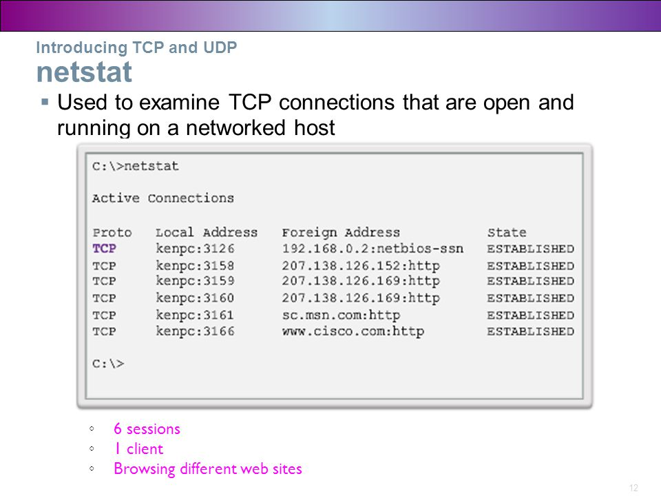 Introducing TCP and UDP netstat