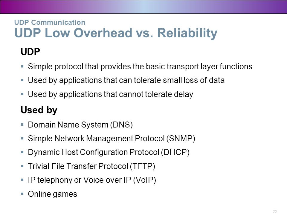UDP Communication UDP Low Overhead vs. Reliability