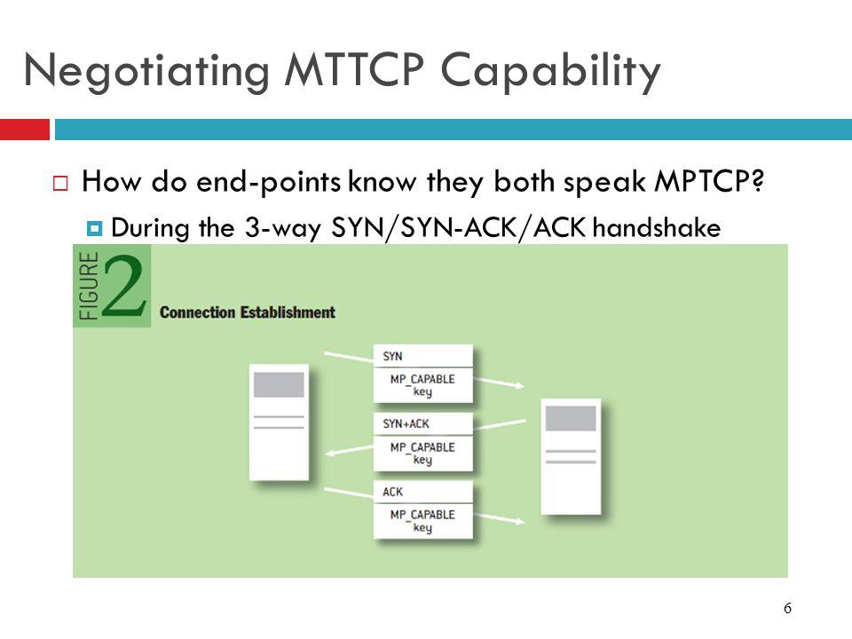 Negotiating MTTCP Capability