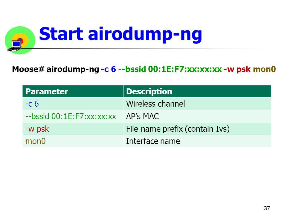 Start airodump-ng Moose# airodump-ng -c 6 --bssid 00:1E:F7:xx:xx:xx -w psk mon0. Parameter. Description.
