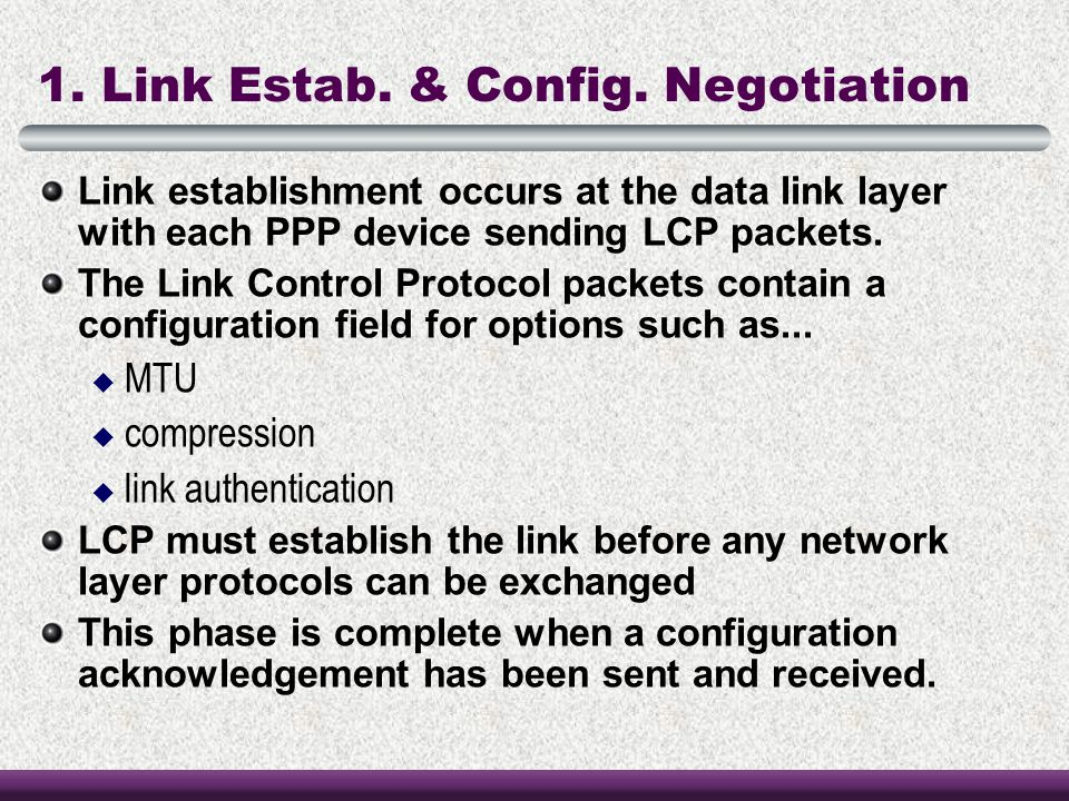 1. Link Estab. & Config. Negotiation