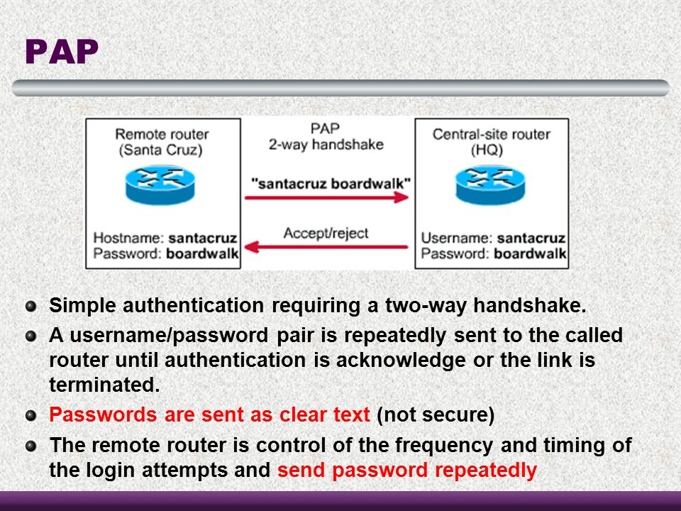 PAP Simple authentication requiring a two-way handshake.