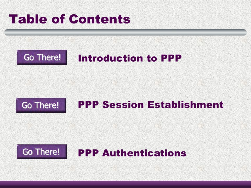 Table of Contents Introduction to PPP PPP Session Establishment