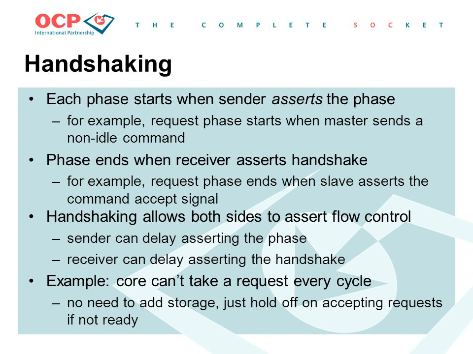 Handshaking Each phase starts when sender asserts the phase