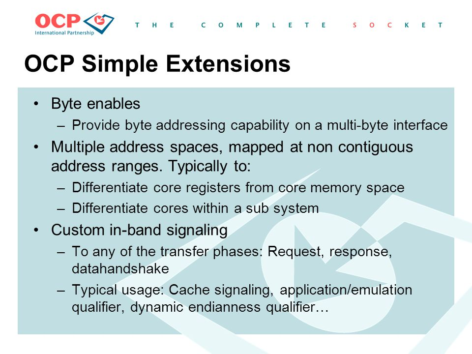 OCP Simple Extensions Byte enables