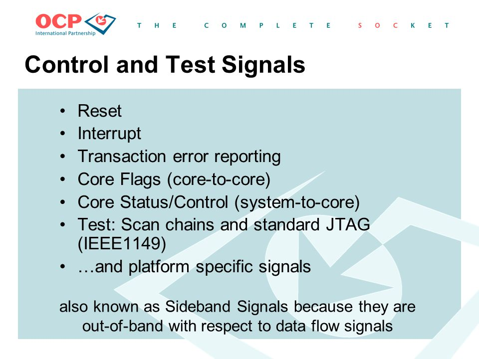 Control and Test Signals