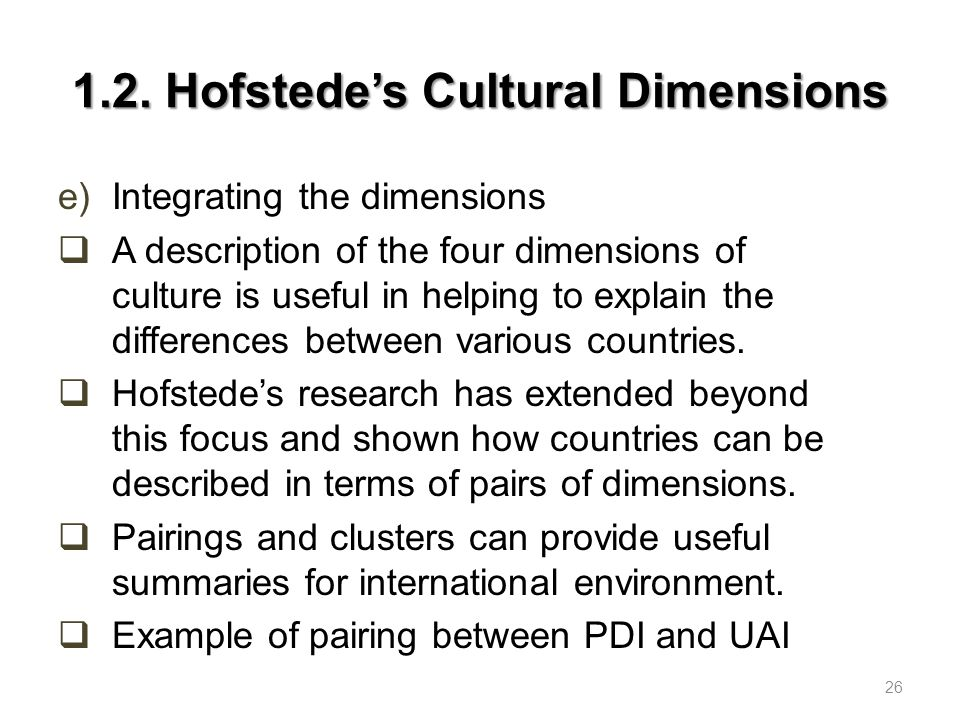 1.2. Hofstede's Cultural Dimensions