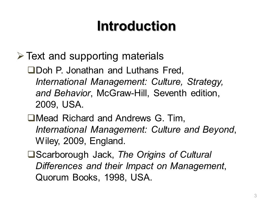 Introduction Text and supporting materials