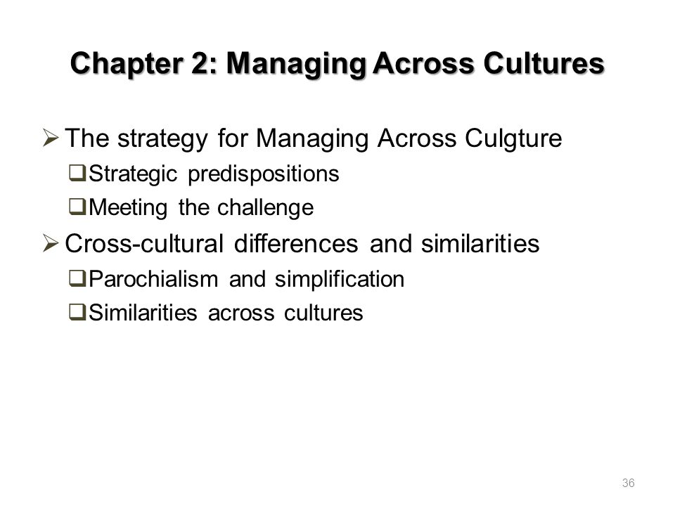 Chapter 2: Managing Across Cultures