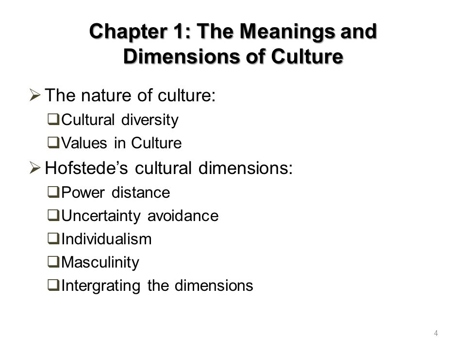 Chapter 1: The Meanings and Dimensions of Culture