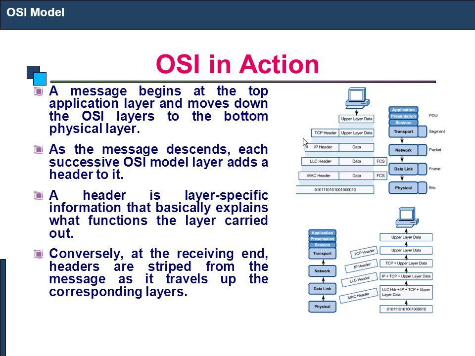 OSI Model OSI in Action. A message begins at the top application layer and moves down the OSI layers to the bottom physical layer.