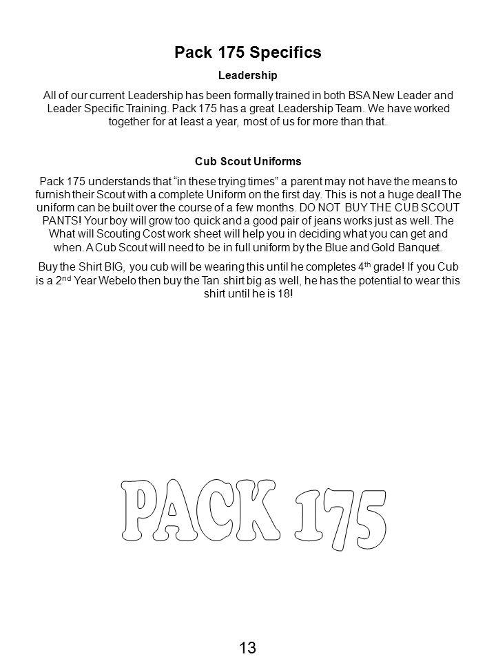 PACK 175 Pack 175 Specifics 13 Leadership