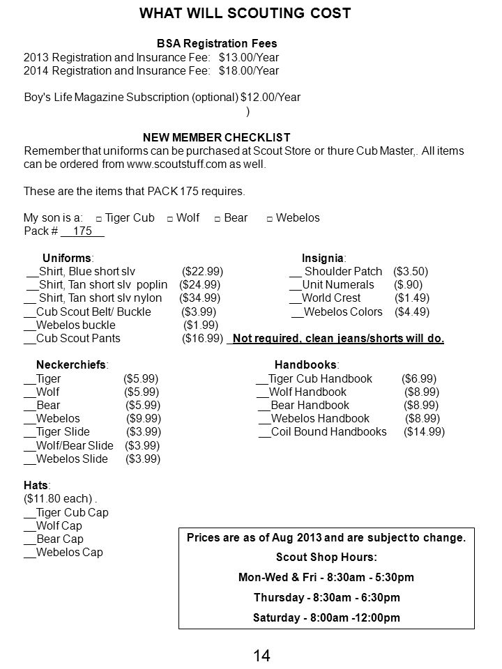 14 WHAT WILL SCOUTING COST BSA Registration Fees