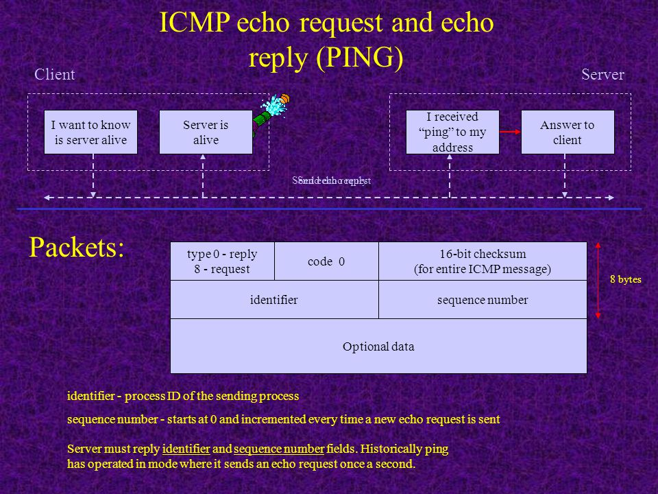 ICMP echo request and echo reply (PING)