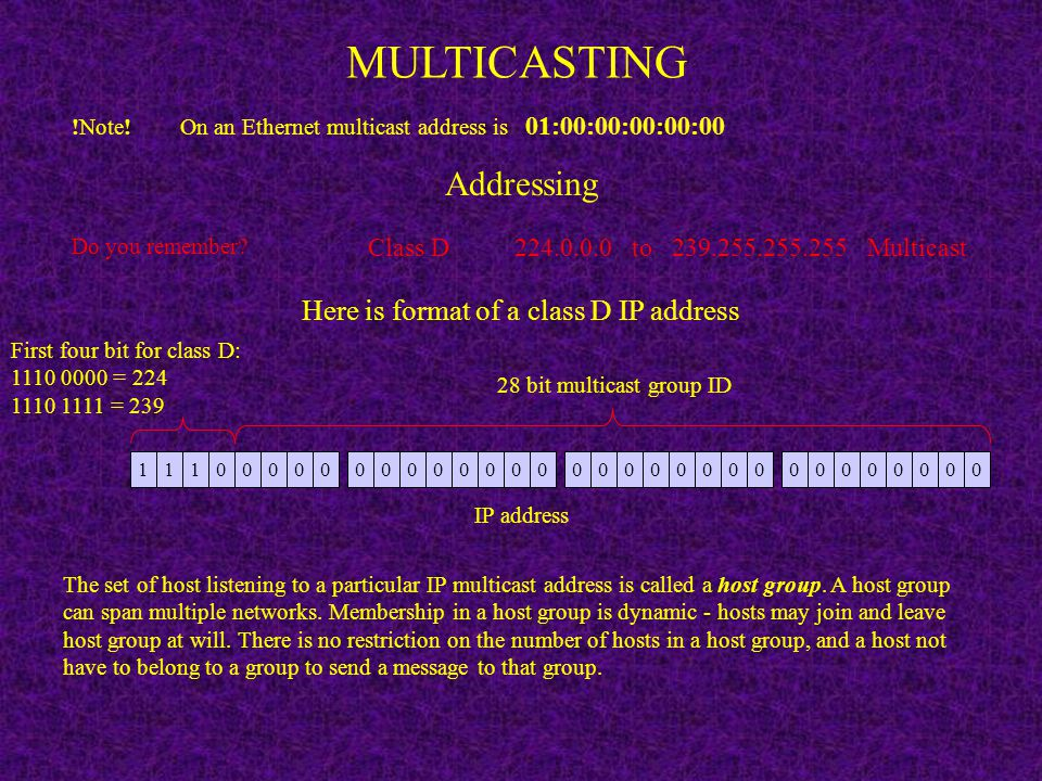 Here is format of a class D IP address