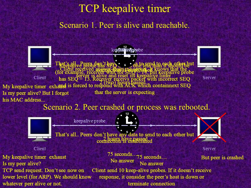 TCP keepalive timer Scenario 1. Peer is alive and reachable.
