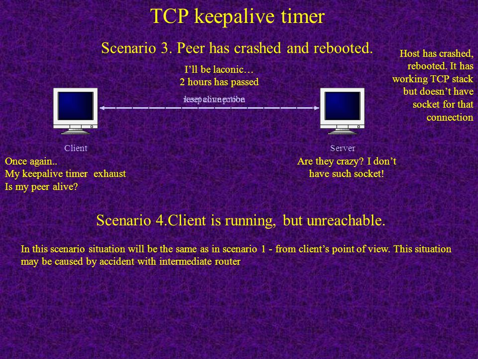 TCP keepalive timer Scenario 3. Peer has crashed and rebooted.