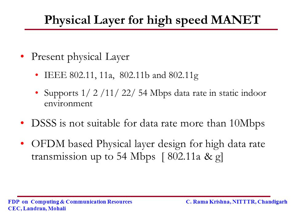 Physical Layer for high speed MANET