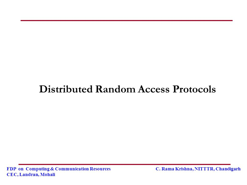 Distributed Random Access Protocols