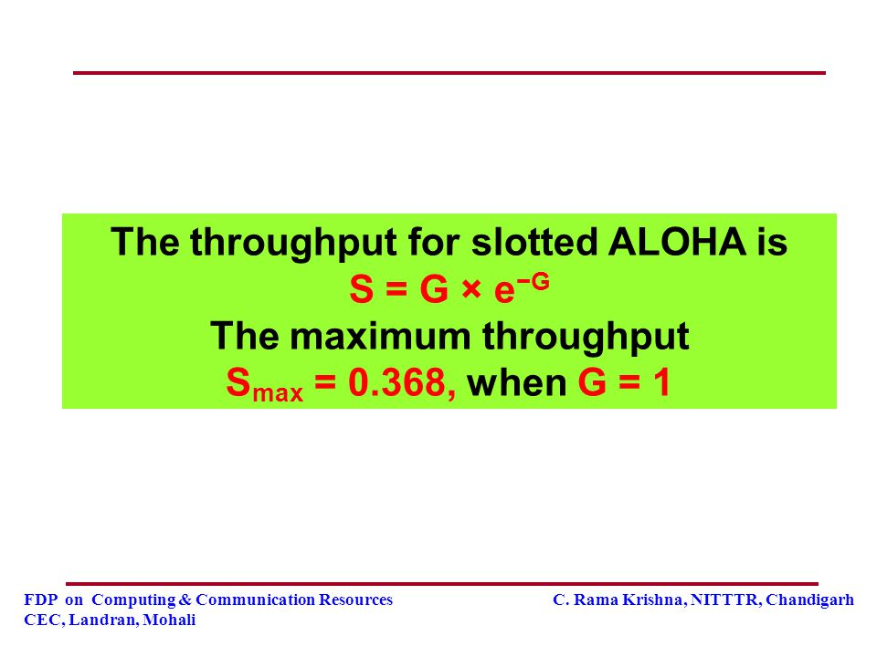 The throughput for slotted ALOHA is S = G × e−G