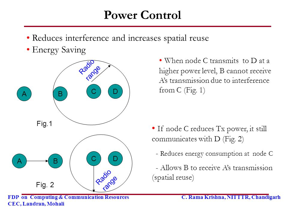 Power Control Reduces interference and increases spatial reuse