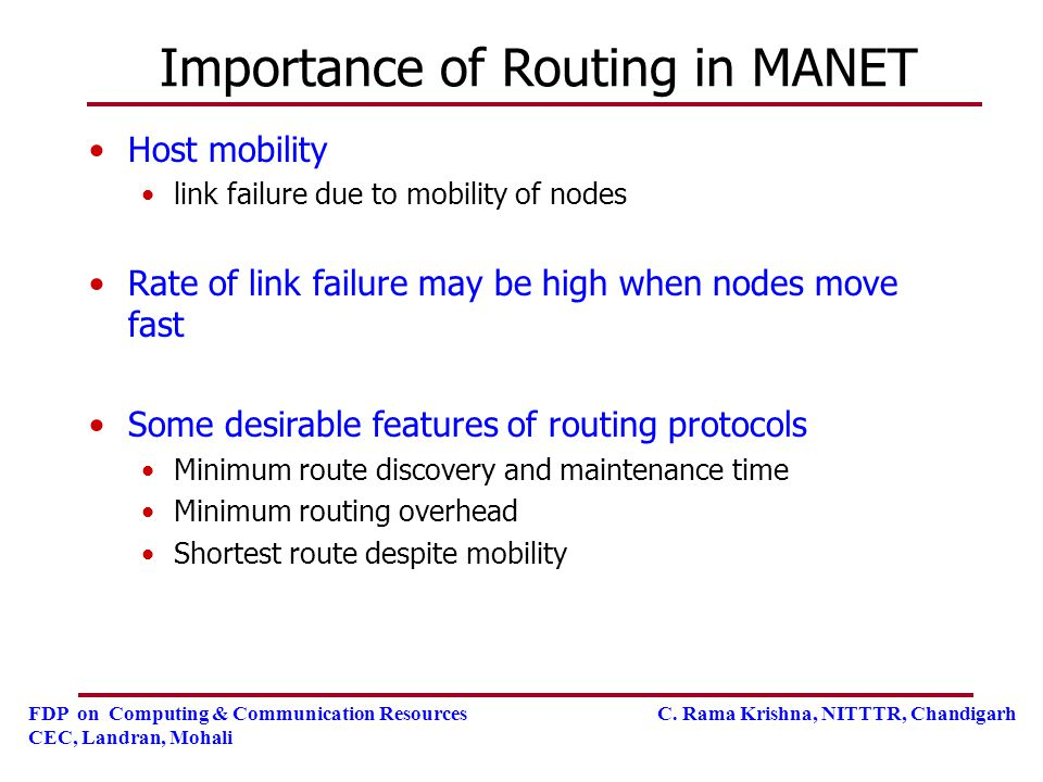 Importance of Routing in MANET