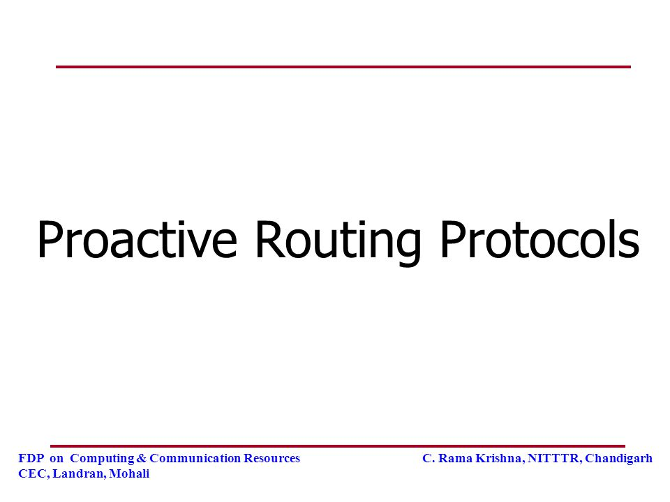 Proactive Routing Protocols
