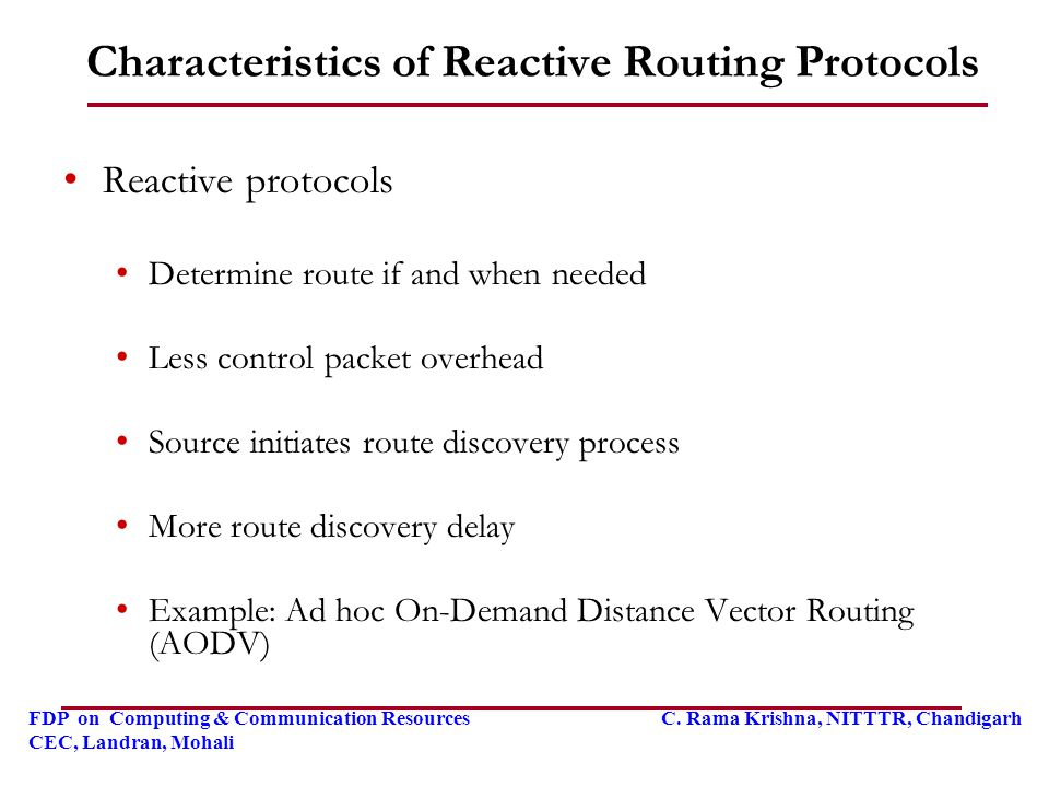 Characteristics of Reactive Routing Protocols