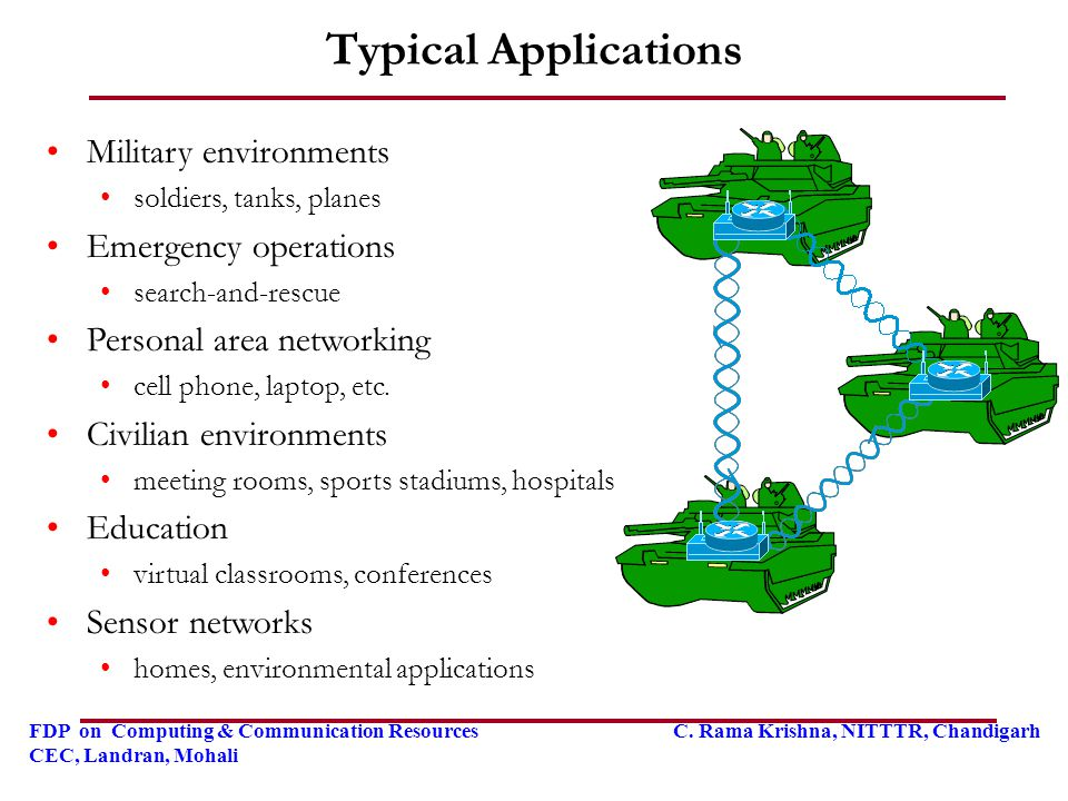 Typical Applications Military environments Emergency operations