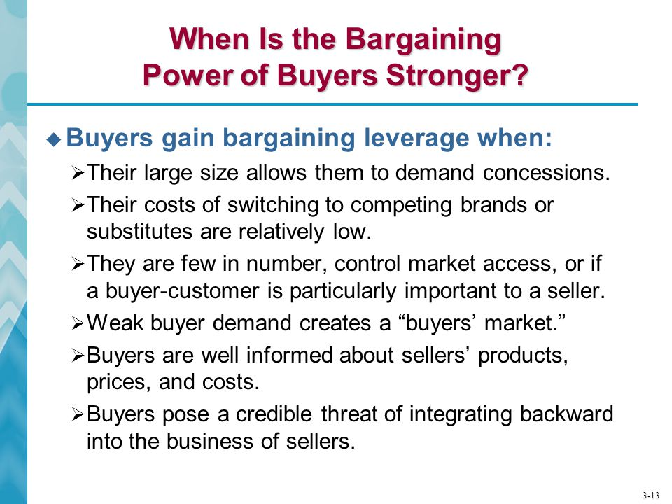 When Is the Bargaining Power of Buyers Stronger