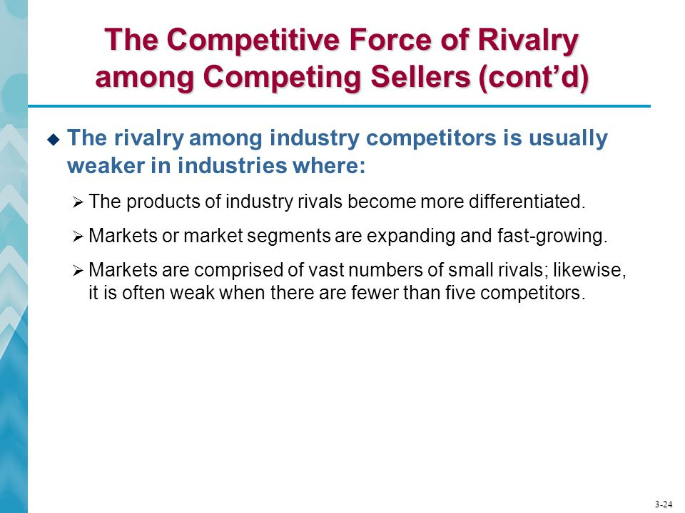 The Competitive Force of Rivalry among Competing Sellers (cont'd)
