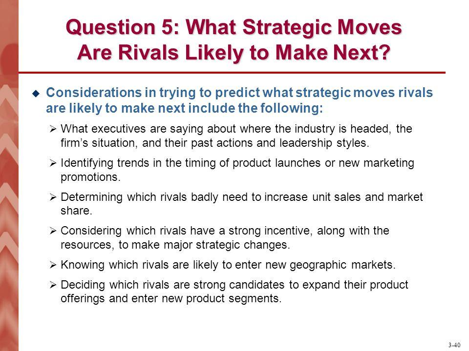 Question 5: What Strategic Moves Are Rivals Likely to Make Next
