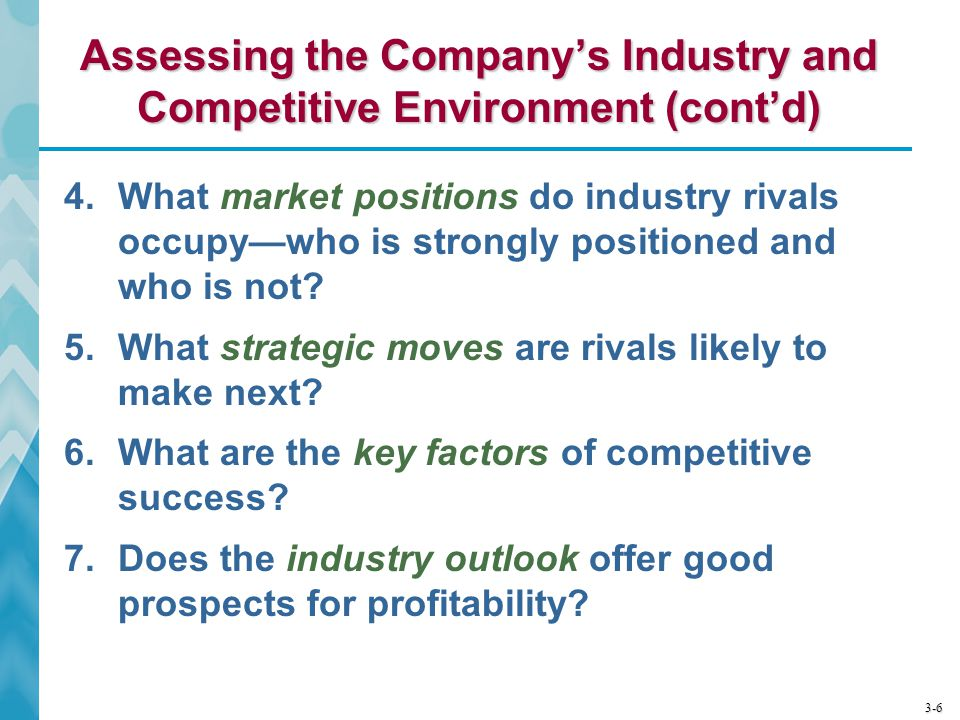 Assessing the Company's Industry and Competitive Environment (cont'd)
