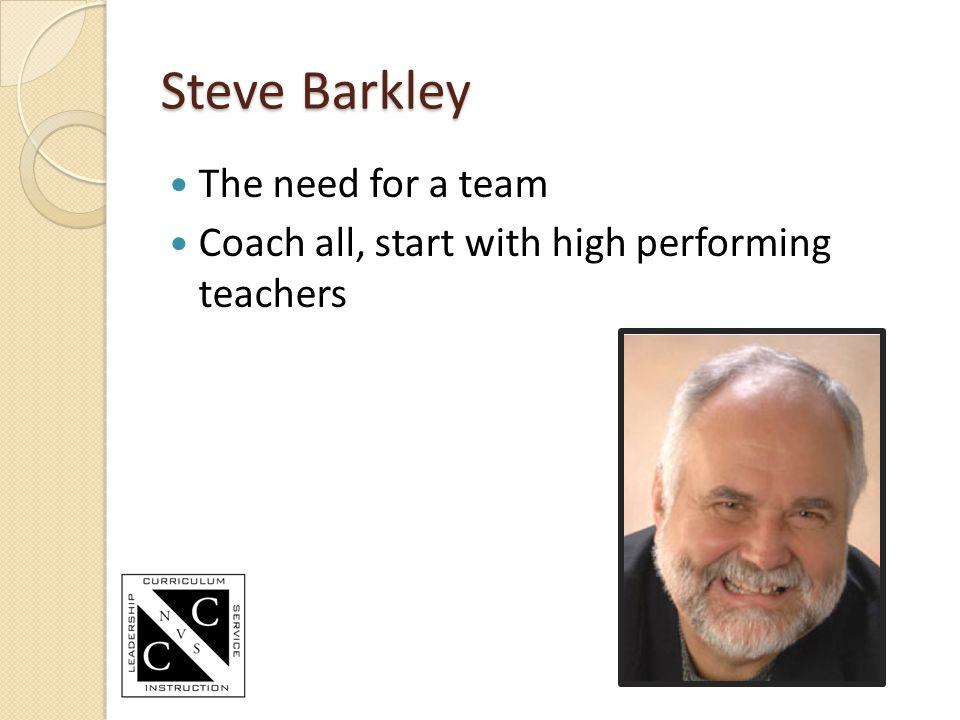 Steve Barkley The need for a team