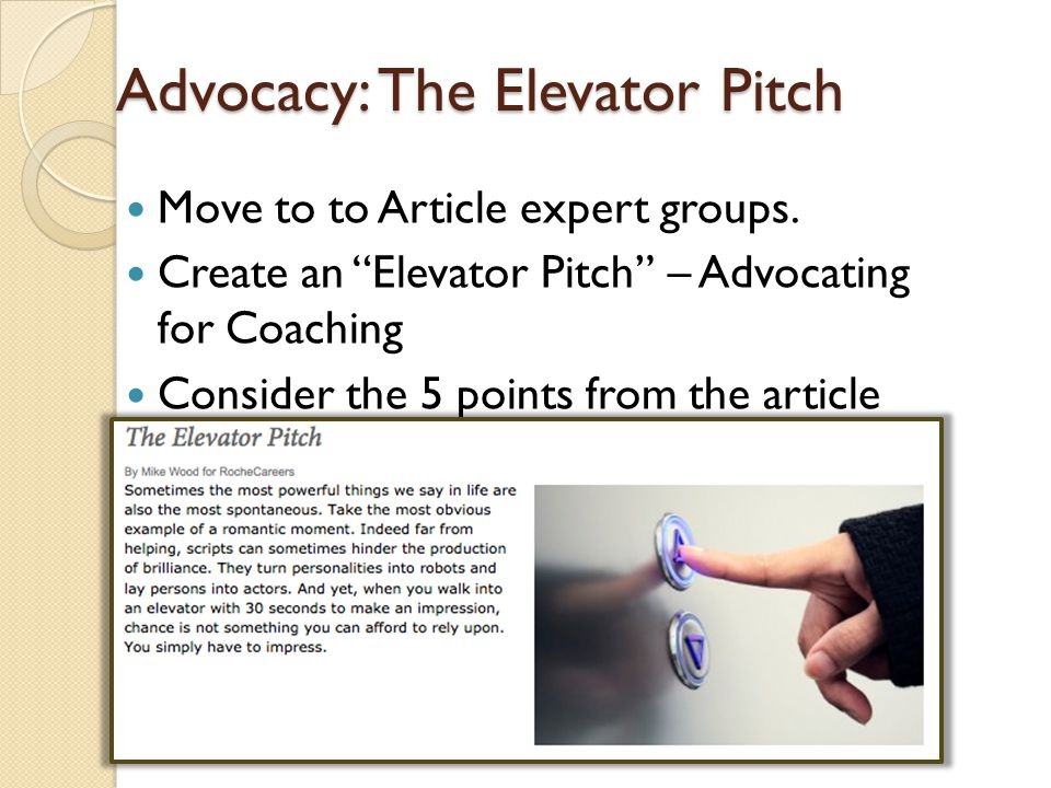 Advocacy: The Elevator Pitch