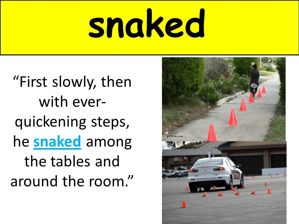 snaked First slowly, then with ever-quickening steps, he snaked among the tables and around the room.