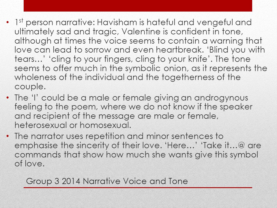 Group 3 2014 Narrative Voice and Tone