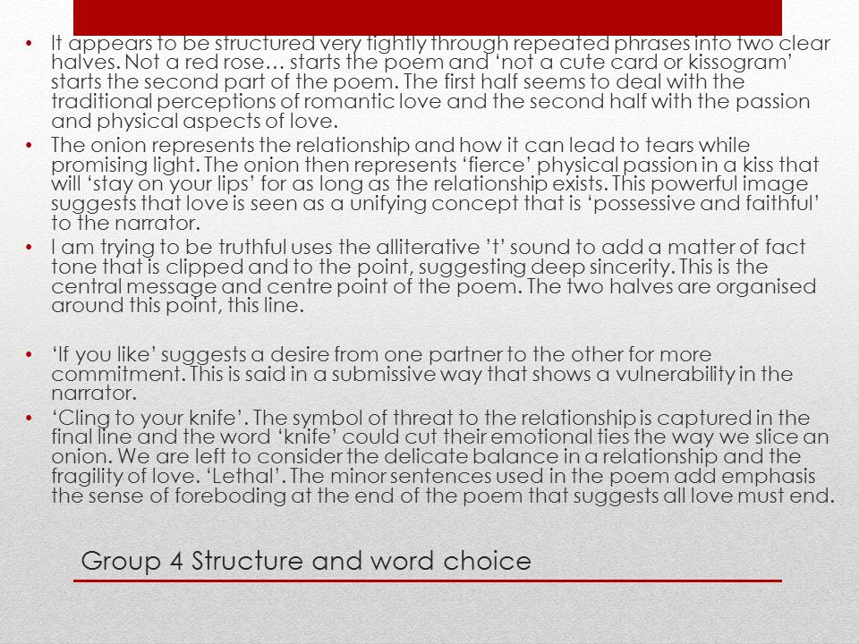 Group 4 Structure and word choice