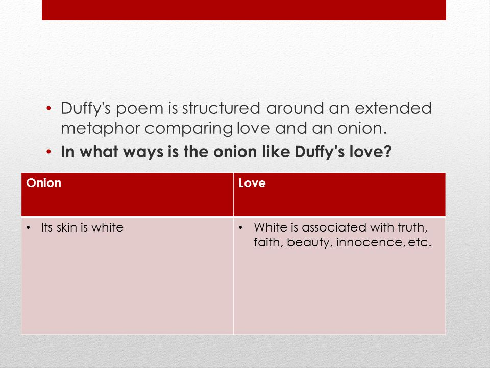 In what ways is the onion like Duffy s love